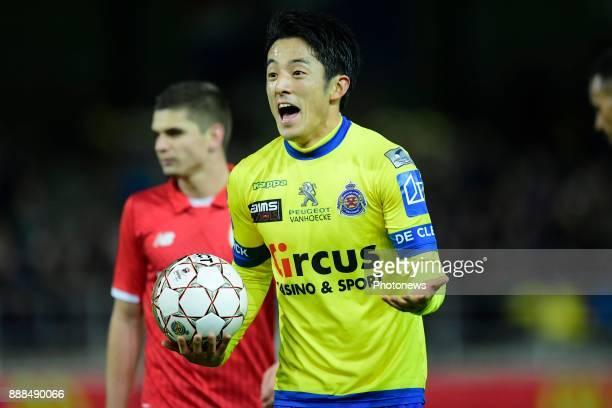 Ryota Morioka forward of Beveren gestures during the Jupiler Pro League match between WaaslandBeveren and Standard de Liege at the Freethiel stadium...
