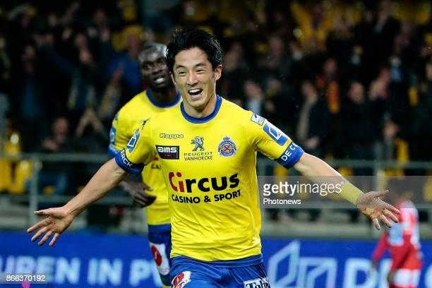 Ryota Morioka forward of Beveren pictured celebrating a goal during the Jupiler Pro League match between Waasland Beveren and KV Kortrijk at the...
