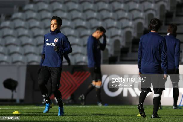 Ryota Morioka of Japan in action during a Japan training session ahead of the international friendly against Brazil on November 9 2017 in Lille France