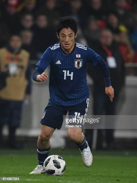 Ryota Morioka of Japan in action during the international friendly match between Belgium and Japan at Jan Breydel Stadium on November 14 2017 in...