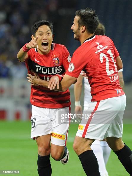 Ryota Moriwaki of Urawa Red Diamonds celebrates the second goal during the JLeague match between Urawa Red Diamonds and Ventforet Kofu at the Saitama...