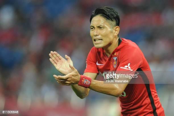 Ryota Moriwaki of Urawa Red Diamonds gestures during the JLeague J1 match between Urawa Red Diamonds and Albirex Niigata at Saitama Stadium on July 9...