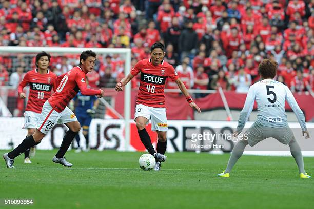 Ryota Moriwaki of Urawa Red Diamonds in action during the JLeague match between Urawa Red Diamonds and Avispa Fukuoka at the Saitama Stadium on March...