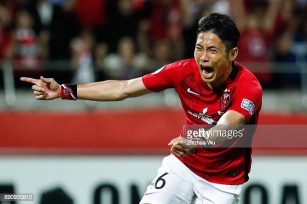 Ryota Moriwaki of Urawa Reds Diamonds celebrates his scoring during the AFC Champions League Round of 16 match between Urawa Red Diamonds and Jeju...