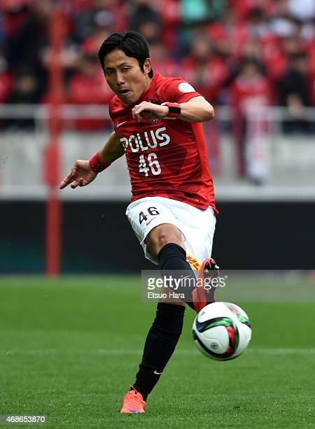 Ryota Moriwaki of Urawa Reds in action during the JLeague match between Urawa Red Diamonds and Matsumoto Yamaga at Saitama Stadium on April 4 2015 in...