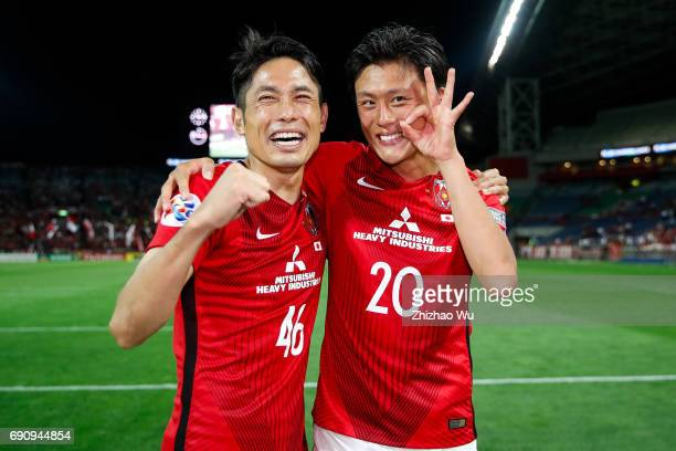 Ryota Moriwaki£¬Tadanari Lee of Urawa Reds Diamonds celebrate after the AFC Champions League Round of 16 match between Urawa Red Diamonds and Jeju...