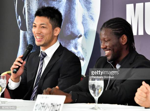 Ryota Murata and Hassan N'Dam attend a press conference announcing the rematch of the WBA Middleweight title bout on August 3 2017 in Tokyo Japan