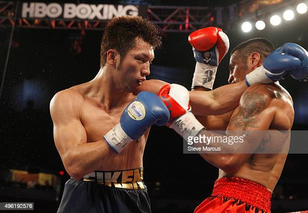 Ryota Murata battles with Gunnar Jackson during their middleweight fight at the Thomas Mack Center on November 7 2015 in Las Vegas Nevada