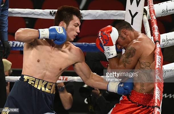 Ryota Murata hits Gunnar Jackson in the fourth round of their middleweight fight at the Thomas Mack Center on November 7 2015 in Las Vegas Nevada