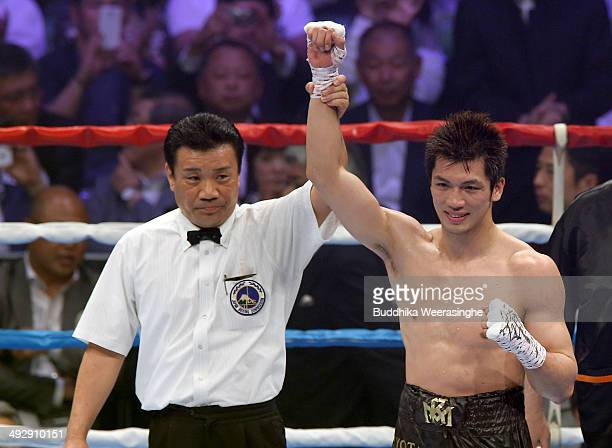 Ryota Murata of Japan is declared winner by knockout after his nontitle bout against Jesus Angel Nerio of Mexico at Shimazu Arena on May 22 2014 in...