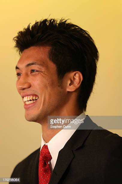 Ryota Murata speaks at a press conference announcing his signing with Top Rank Boxing as he starts his professional career at Beverly Hills Hotel on...