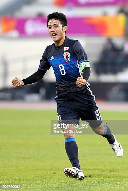 Ryota Ohshima of Japan celebrates scoring his team's first goal during the AFC U23 Championship Group B match between Saudi Arabia and Japan at...