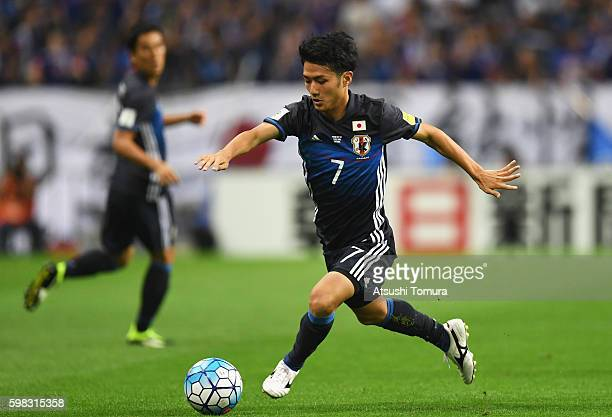 Ryota Ohshima of Japan in action during the 2018 FIFA World Cup Qualifier Final Round Group B match between Japan and United Arab Emirates at Saitama...
