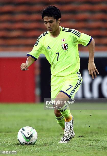 Ryota Oshima of Japan in action during the AFC U23 Championship qualifier Group I match between Japan and Malaysia at Shah Alam Stadium on March 31...