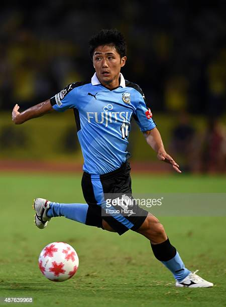 Ryota Oshima of Kawasaki Frontale in action during the Emperor's Cup second round match between Kawasaki Frontale and Matsue City at Todoroki Stadium...