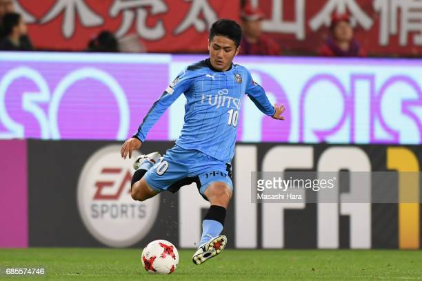 Ryota Oshima of Kawasaki Frontale in action during the JLeague J1 match between Kashima Antlers and Kawasaki Frontale at Kashima Soccer Stadium on...