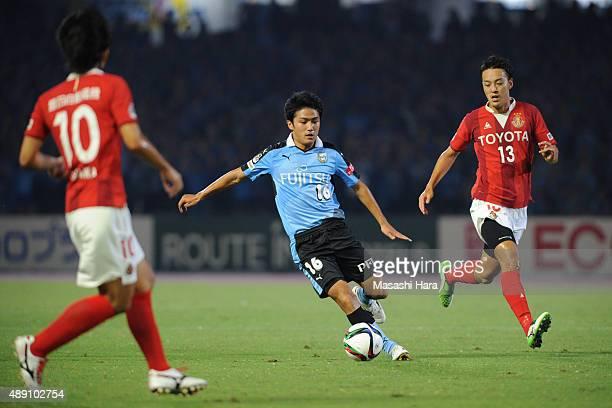Ryota Oshima of Kawasaki Frontale in action during the JLeague match between Kawasaki Frontale and Nagoya Grampus at Kawasaki Todoroki Stadium on...