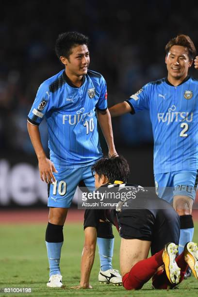 Ryota Oshima of Kawasaki Frontale scoring his side's first goal with Kyohei Noborizato of Kawasaki Frontale during the JLeague J1 match between...
