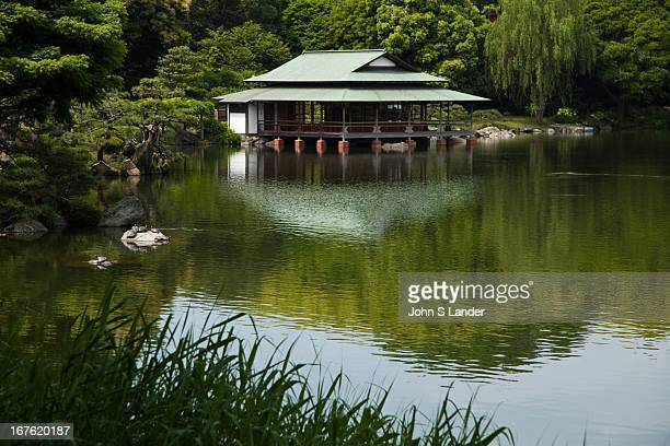 Ryotei Teahouse This sukiyastyle teahouse was built projecting out onto the pond giving the gardens a true Japanese atmosphere The openwalled...
