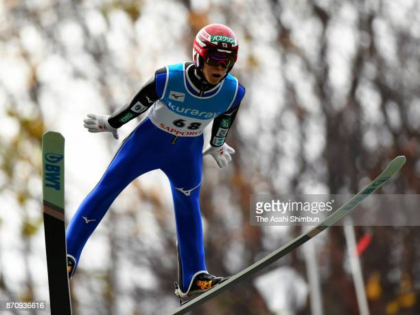 Ryoyu Kobayashi competes in the men's event during the 11th Ito Cup Okurayama Summer Ski Jumping Championships at Okurayama Jump Stadium on November...