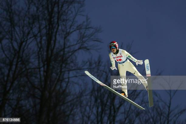 Ryoyu Kobayashi competes in the team competition during the FIS Ski Jumping World Cup on November 18 2017 in Wisla Poland