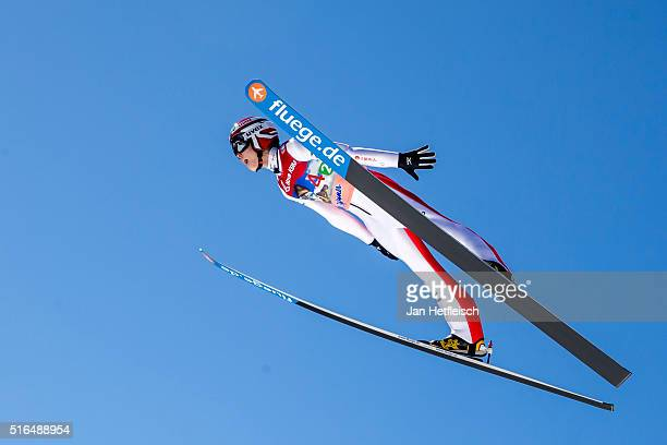 Ryoyu Kobayashi of Japan competes in the first run of flying hill team competition of the FIS Ski Jumping World Cup at Planica on March 19 2016 in...