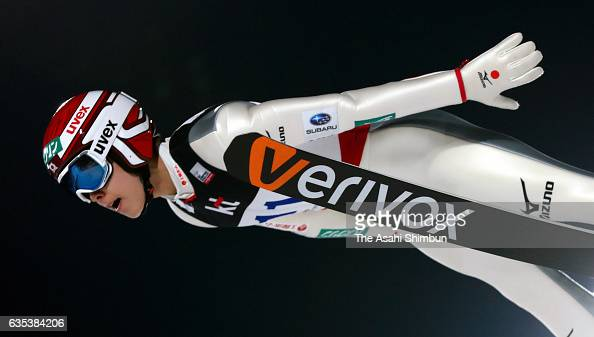 Ryoyu Kobayashi of Japan competes in the qualification of the FIS Ski Jumping World Cup PyeongChang at Alpensia Ski Jumping Center on February 14...