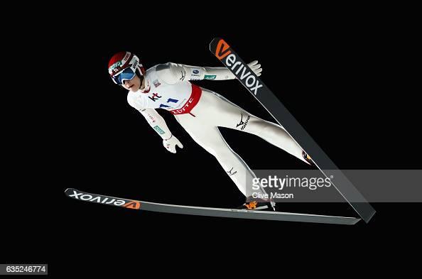 Ryoyu Kobayashi of Japan in action jumping during training at the 2017 FIS Ski Jumping World Cup test event for PyeongChang 2018 at Alpensia Ski...