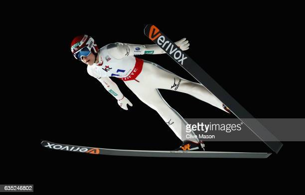 Ryoyu Kobayashi of Japan in action jumping during training at the 2017 FIS Ski Jumping World Cup test event for PyeongChang 2018 at Alpensia Ski...