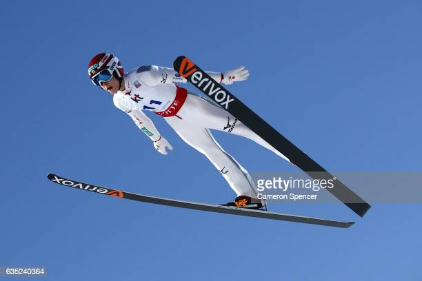 Ryoyu Kobayashi of Japan jumps during trainining for the 2017 FIS Ski Jumping World Cup test event For PyeongChang 2018 at Alpensia Ski Jumping...