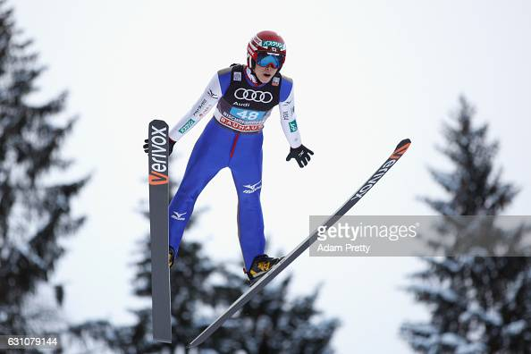 Ryoyu Kobayashi of Poland competes at the trail round on Day 2 of the 65th Four Hills Tournament ski jumping event at PaulAusserleitnerSchanze on...