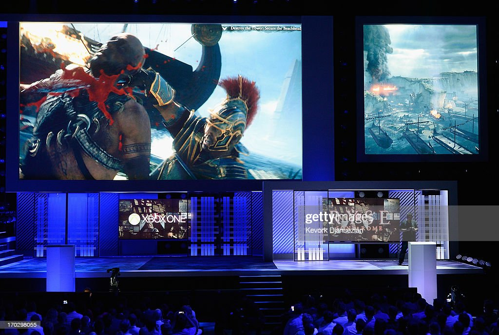 Son of Rome video game exclusive for Xbox One is revealed during Microsoft Xbox news conference at the Electronic Entertainment Expo at the Galen Center on June 10, 2013 in Los Angeles, California. Thousands are expected to attend the annual three-day convention to see the latest games and announcements from the gaming industry.