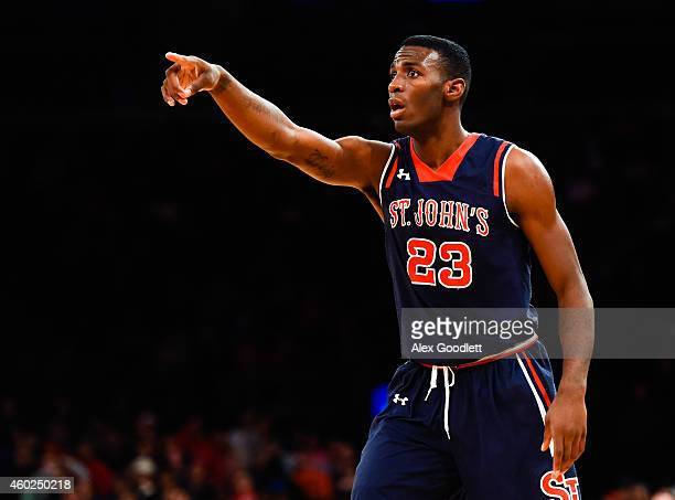 Rysheed Jordan of the St John's Red Storm looks on during a game against the Gonzaga Bulldogs at Madison Square Garden on November 28 2014 in New...
