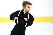 Ryszard Gurtler of Poland skates during the junior men short dance of the ISU Junior Grand Prix at Dom Sportova on October 8 2015 in Zagreb Croatia