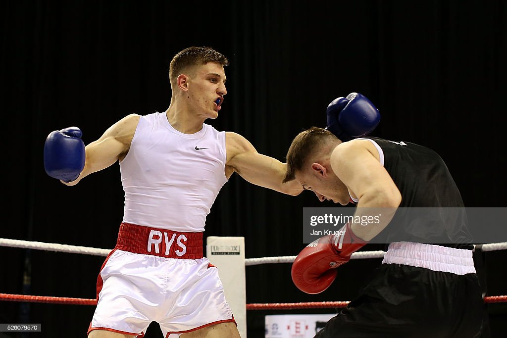 Ryszard Lewicki (blue) in action against Harry Scarf in their 75kg quarter final fight during day one of the Boxing Elite National Championships at Echo Arena on April 29, 2016 in Liverpool, England.