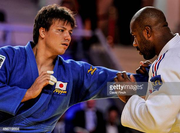 Ryu Shichinohe of Japan lost to Teddy Riner of France enabling Riner to win his eighth heavyweight World title by a wazari and yuko during the 2015...