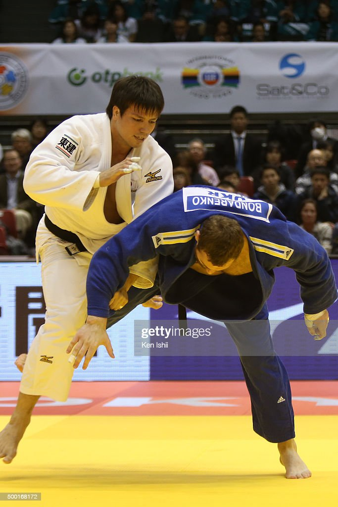 <a gi-track='captionPersonalityLinkClicked' href=/galleries/search?phrase=Ryu+Shichinohe&family=editorial&specificpeople=9207686 ng-click='$event.stopPropagation()'>Ryu Shichinohe</a> of Japan throws Stanislav Bondarenko of Ukraine in the +100kg preliminary at Tokyo Metropolitan Gymnasium on December 6, 2015 in Tokyo, Japan.