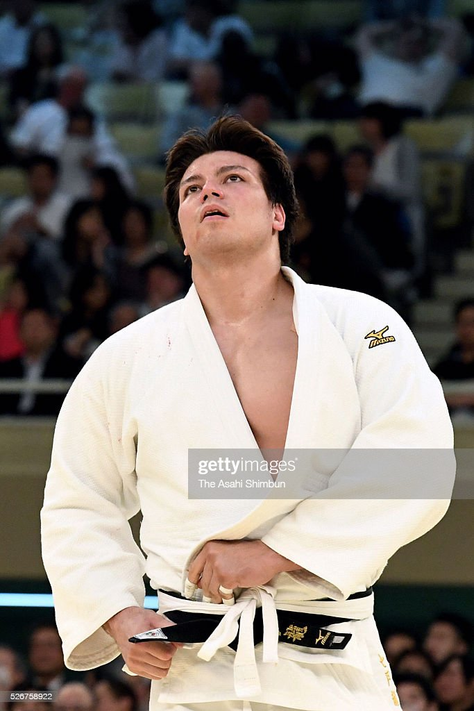 <a gi-track='captionPersonalityLinkClicked' href=/galleries/search?phrase=Ryu+Shichinohe&family=editorial&specificpeople=9207686 ng-click='$event.stopPropagation()'>Ryu Shichinohe</a> reacts after his defeat in the semi final during the All Japan Judo Championship at Nippoon Budokan on April 29, 2016 in Tokyo, Japan.