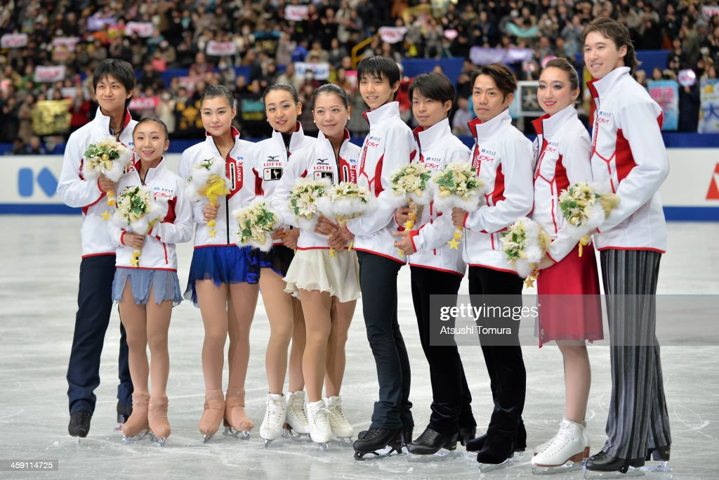 Ryuichi Kihara, <a gi-track='captionPersonalityLinkClicked' href=/galleries/search?phrase=Narumi+Takahashi&family=editorial&specificpeople=5812360 ng-click='$event.stopPropagation()'>Narumi Takahashi</a>, <a gi-track='captionPersonalityLinkClicked' href=/galleries/search?phrase=Kanako+Murakami&family=editorial&specificpeople=6665999 ng-click='$event.stopPropagation()'>Kanako Murakami</a>, <a gi-track='captionPersonalityLinkClicked' href=/galleries/search?phrase=Mao+Asada&family=editorial&specificpeople=247229 ng-click='$event.stopPropagation()'>Mao Asada</a>, <a gi-track='captionPersonalityLinkClicked' href=/galleries/search?phrase=Akiko+Suzuki&family=editorial&specificpeople=5621783 ng-click='$event.stopPropagation()'>Akiko Suzuki</a>, Yuzuru Hanyu, <a gi-track='captionPersonalityLinkClicked' href=/galleries/search?phrase=Tatsuki+Machida&family=editorial&specificpeople=4532357 ng-click='$event.stopPropagation()'>Tatsuki Machida</a>, <a gi-track='captionPersonalityLinkClicked' href=/galleries/search?phrase=Daisuke+Takahashi&family=editorial&specificpeople=725172 ng-click='$event.stopPropagation()'>Daisuke Takahashi</a>, <a gi-track='captionPersonalityLinkClicked' href=/galleries/search?phrase=Cathy+Reed&family=editorial&specificpeople=4142356 ng-click='$event.stopPropagation()'>Cathy Reed</a> and Chris Reed of Japan pose for photo session after they were selected as Japanese representitive for the olympic games in Sochi after the All Japan Figure Skating Championships at Saitama Super Arena on December 23, 2013 in Saitama, Japan.