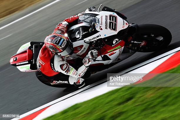 Ryuichi Kiyonari of Bennetts Suzuki team rides during practice for the British Superbike Championship at Brands Hatch on May 20 2016 in Longfield...