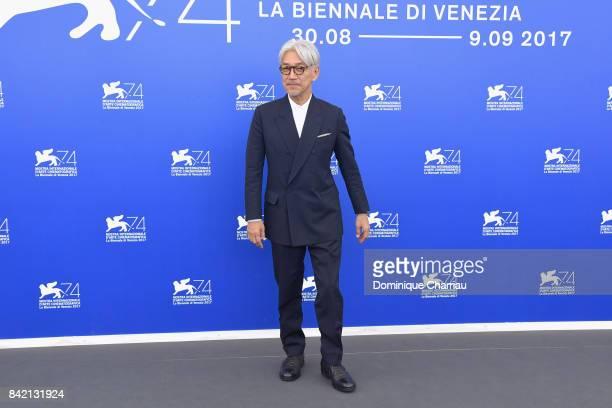 Ryuichi Sakamoto attends the 'Ryuichi Sakamoto Coda' Cinema photocall during the 74th Venice Film Festival on September 3 2017 in Venice Italy