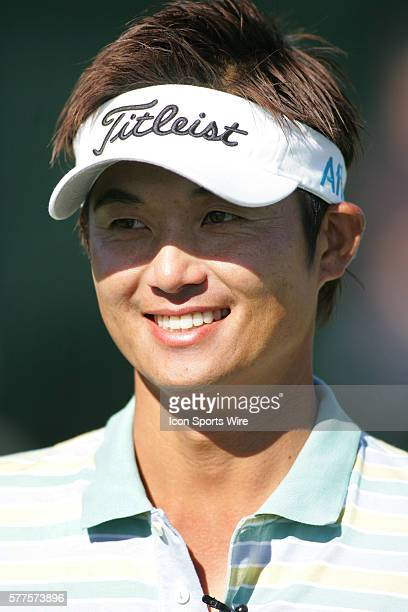 Ryuji Imada does an interview before playing a practice round with Jason Dufner and 17 year old professional Ryo Ishikawa before the start of the...
