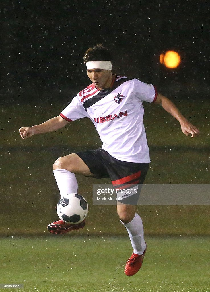 Ryuji Miyazawa of Blacktown City controls the ball during the FFA Cup match between Blacktown City and Bentleigh Greens at Lilys Football Centre on August 12, 2014 in Blacktown, Australia.