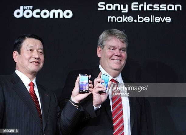 Ryuji Yamada president of NTT DoCoMo Inc left and Bert Nordberg president and chief executive officer of Sony Ericsson Mobile Communications AB pose...