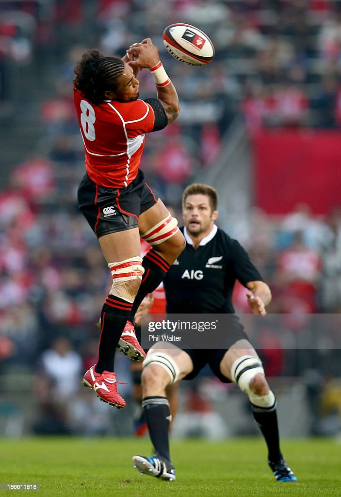 Ryukoliniasi Holani of Japan looses the ball in the air during the International Rugby Test Match between Japan and the New Zealand All Blacks at Prince Chichibu Memorial Rugby Stadium on November 2, 2013 in Tokyo, Japan.