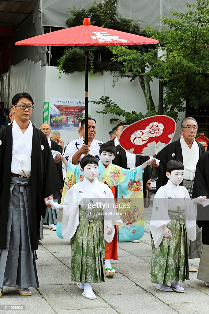 Ryushin Kumeda, acts as 'Chigo' attends the 'Osendo-no-Gi' ritual to pray for the sucess as the start of the Kyoto Gion Festival at the Yasaka Jinja Shrine on July 1, 2016 in Kyoto, Japan. Kumeda will get on the 'Naginata ' float to lead the Yamahoko march on July 17.