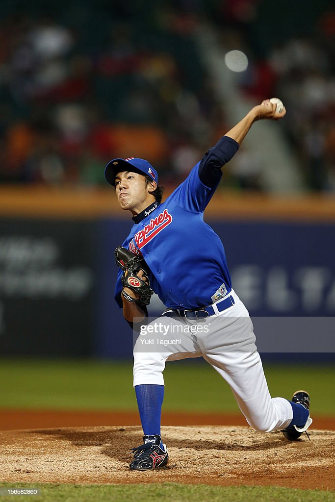 Ryuya Ogawa #25 of Team Philippines pitches during Game 4 of the 2013 World Baseball Classic Qualifier against Team Chinese Taipei at Xinzhuang Stadium on November 16, 2012 in New Taipei City, Taiwan.