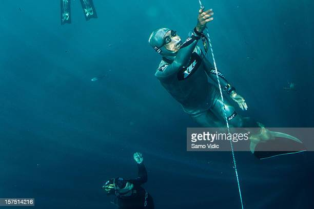 Ryuzo Shinomiya of Japan in action during the Suunto free diving world cup on November 21 2012 in Long Island Bahamas