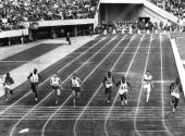 WINS THE MEN's 100 METRE FINAL AT THE OLYMPIC GAMES IN TOKYO HAYES'' TIME OF 100 SECONDS WAS A NEW OLYMPIC RECORD Mandatory Credit Allsport...