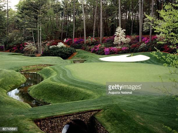 AUGUSTA GA 1980's 13th green during the 1980's at Augusta National Golf Club in Augusta Georgia